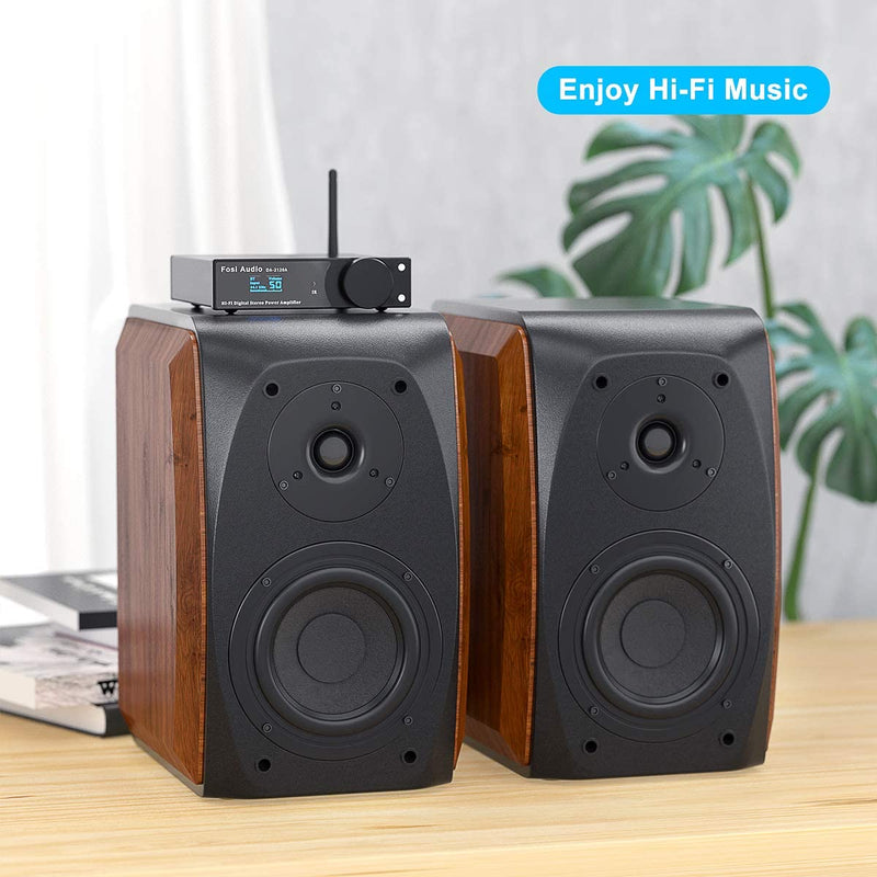 DK560-N Fosi Audio Bookshelf Speakers Passive Wooden Hi-Fi Speakers 5-Inch 2.0 for TV Desktop Shelf Home Theater Surround System