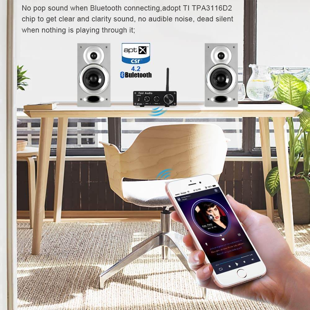 BT20C Bluetooth 4 2 Stereo Audio Amplifier 2 Channel Home Receiver Mini  Hi-Fi Class D Integrated Amp 2 0CH Digital Power Amplifier for Passive