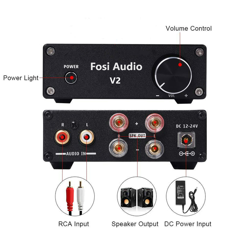 V2 2 Channel Stereo Audio Amplifier Mini Hi-Fi Class D Integrated Digital 2.0CH Amp for Home Speakers 50W x 2 with Power Supply - Fosi Audio