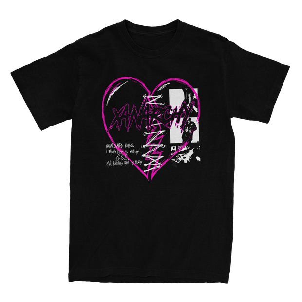 Sewn Broken Heart Black Tee