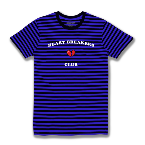 HEARTBREAK CLUB STRIPED TEE (NAVY)