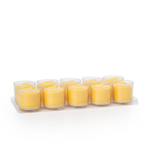 8 Hours Clear Cup Votive Candle  - Yellow
