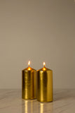 Metallic Gold Pillar Candle (Diameter 7cm x Height 15cm)