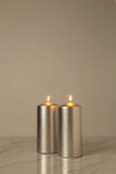 Metallic Silver Pillar Candle (Diameter 7cm x Height 15cm)
