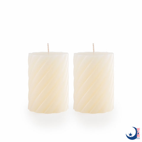 Spiral Block Candle Diameter 7cm x Height 10cm (Cream)