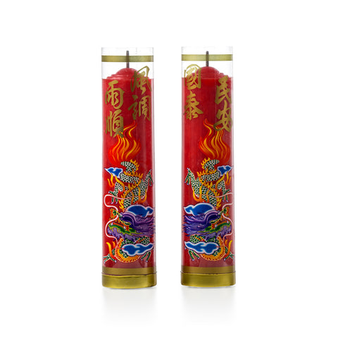 7-days Candle with Dragon (Red)