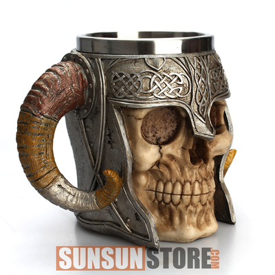 Viking Skull Ram Horned Pit Lord Warrior Mug