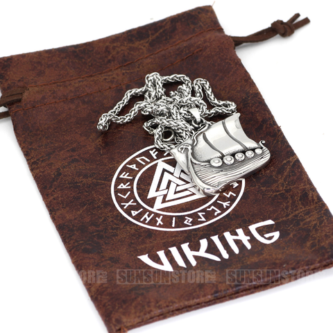 Viking Ship Stainless Steel Pendant Necklace