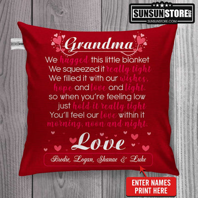 "Personalized Pillow Cover 18""x 18"": ""Love Grandma"" with Names - Perfect gift for Grandma"