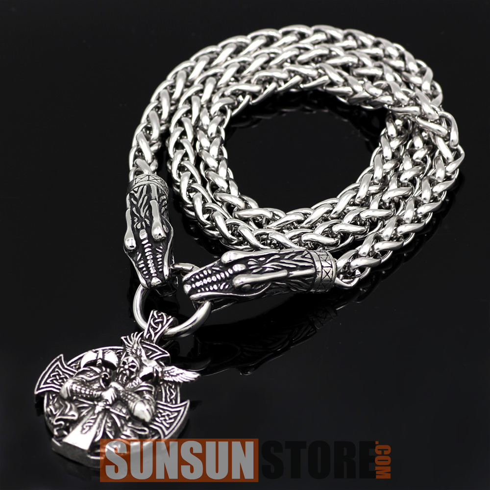 Viking Dragon Head Necklace 01