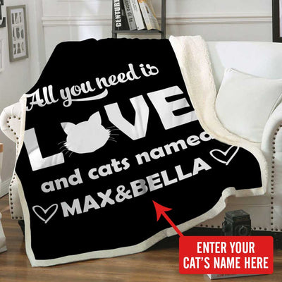 Personalized Blanket All You Need is Love and a Cat Named