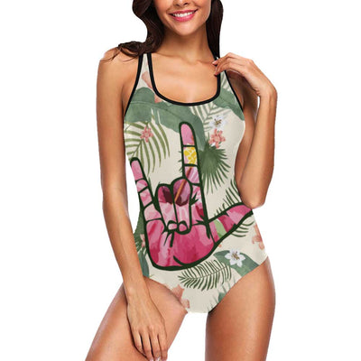 "ASL ""I LOVE YOU"" Women's Tank Top Bathing Swimsuit"