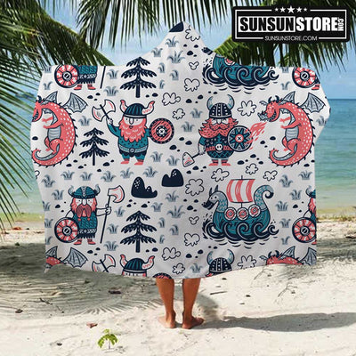 Viking Cartoon Beach Hooded Towel