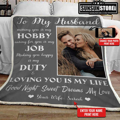 "Personalized Blanket: ""To my Husband... Loving you is my life"" with your name & photo - Perfect gift for Husband"