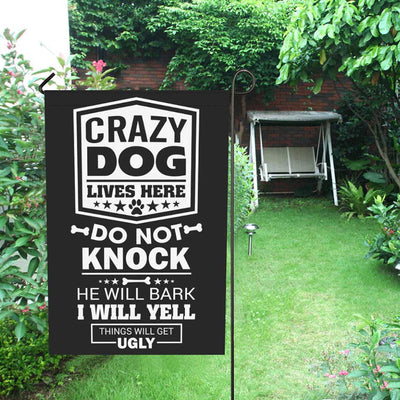 Crazy Dogs Lives here do not knock - Flag