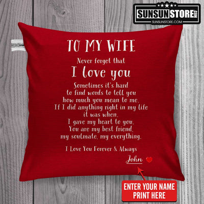 "Personalized Pillow Cover 18""x 18"": To My Wife with Husband Name - Perfect gift for Wife"