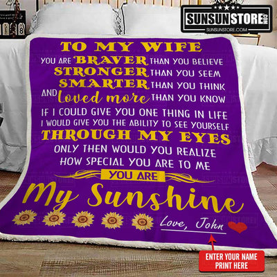 "Personalized Blanket: ""To My Wife... You are My Sunshine"" with your name - Perfect gift for Wife"