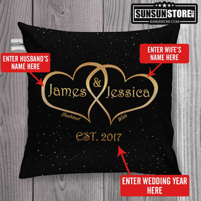 "Personalized Throw Pillow Cover 18""x 18"": with Husband Name, Wife Name & Wedding Year"