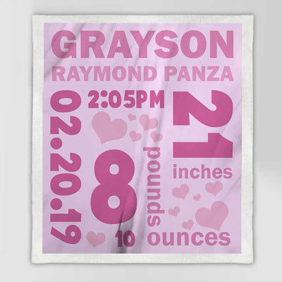 Personalized Baby Stats Blanket