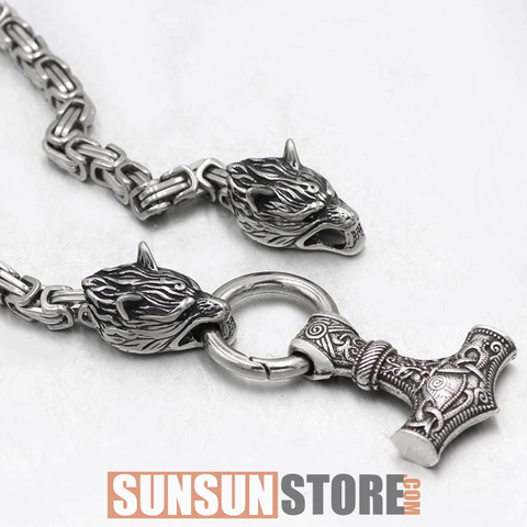 Viking Wolf Head with Huge Thor's Hammer Handmade Chain Necklace