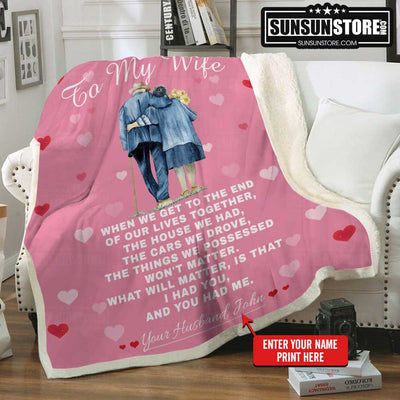 Personalized Blanket: To my Wife with your name - Perfect gift for Wife