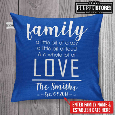 "Personalized Throw Pillow Cover 18""x 18"": with Family name & establish date"