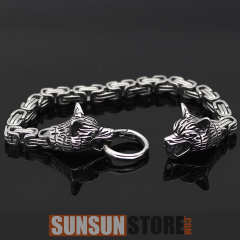 Viking Wolf Head with King Chain Bracelet - Hot Sell 2018