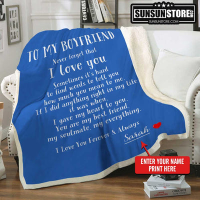 Personalized Blanket: To My Boyfriend with Your Name - Perfect gift for Boyfriend