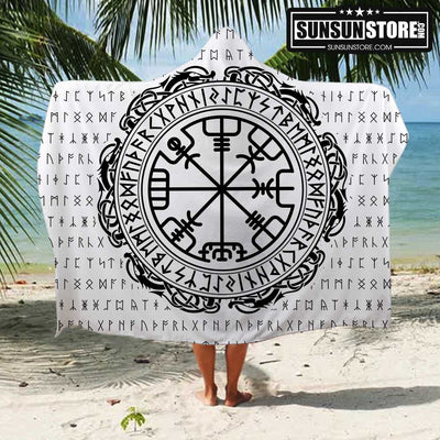 Viking Vegvisir Symbol Beach Hooded Towel