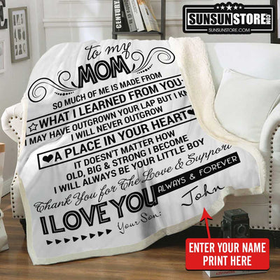 "Personalized Blanket: ""To my Mom...I Love You Always & Forever"" with Your Name - Perfect gift for Mom"