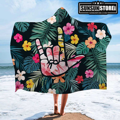 """I Love You"" ASL Beach Hooded Towel"