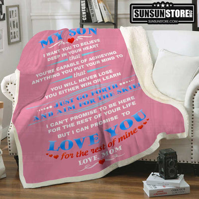 """My Son...Love you for the rest of mine - Love, Mom"" Throw Blanket - Perfect gift for Son"