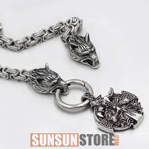 Viking Wolf Head with Odin Handmade Chain Necklace