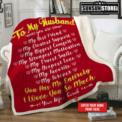 "Personalized Blanket: ""To my Wife you are...I love you so much"" with Your Name - Perfect gift for Wife"