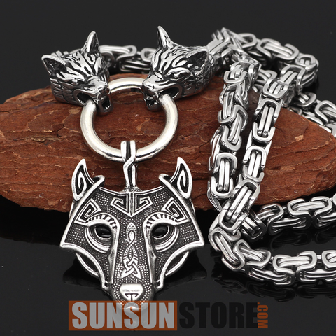 Viking Wolf Head with Wolf Pendant Handmade Chain Necklace