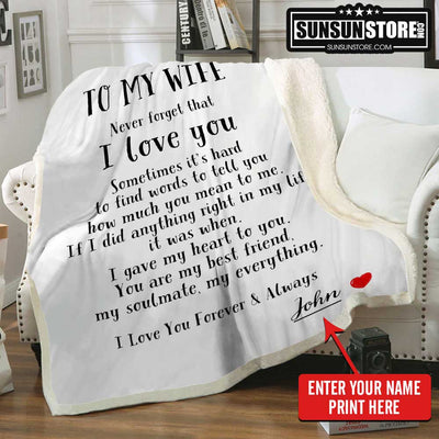 Personalized Blanket: To My Wife with Husband Name - Perfect gift for Wife