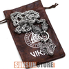 Image of Viking Wolf Head with Wolf Pendant Handmade Chain Necklace