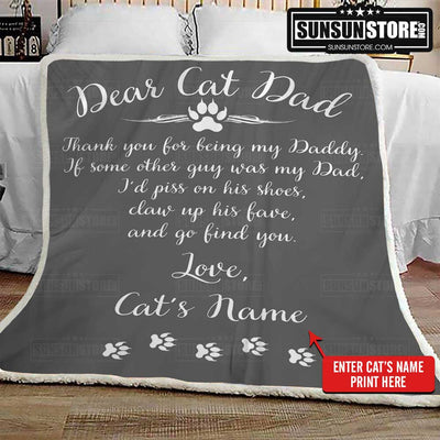 "Personalized Blanket: ""Dear Cat Dad...Love"" with Cat's name"