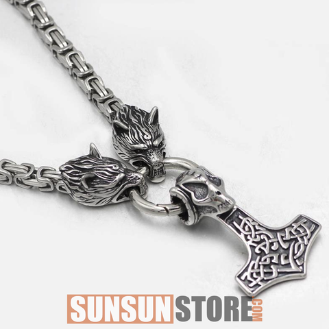 Viking Wolf Head with Thor's Hammer Handmade Chain Necklace