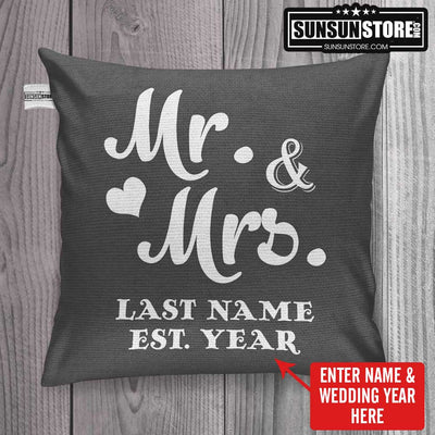 "Personalized Throw Pillow Cover 18""x 18"": Mr and Mrs with Name & Wedding year"