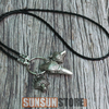 Image of Viking Wolf Head Pendant Raven Head Necklace