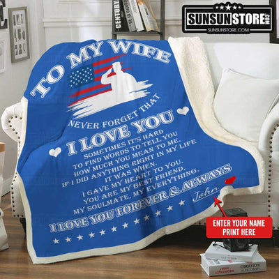 "Personalized Blanket: ""To my wife - Never forget that I love you"" with your name - Perfect Gift for Wife"