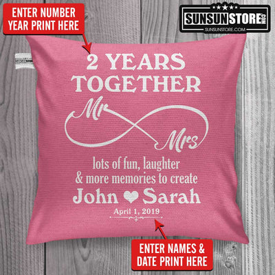 "Personalized Pillow Cover 18""x 18"":  ""(Number) Year Together Mr & Mrs"" with Names & Date"