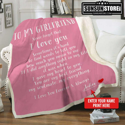 Personalized Blanket: To My Girlfriend with Your Name - Perfect gift for Girlfriend