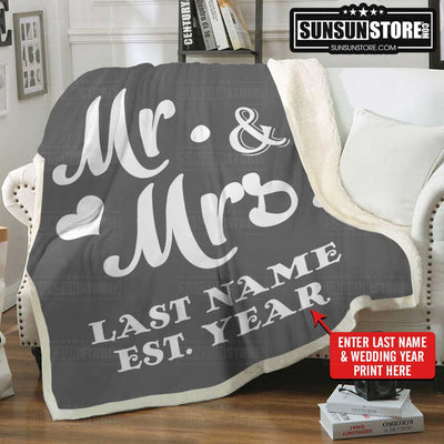 Personalized Blanket Mr and Mrs with Name & Wedding year