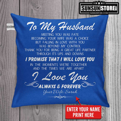 "Personalized Pillow Cover 18""x 18"": To My Husband with Wife Name - Perfect gift for Husband"
