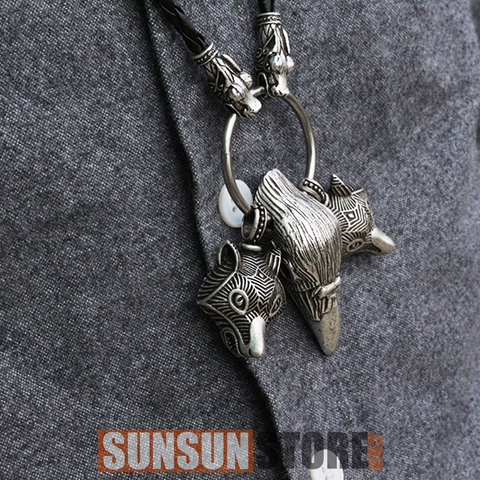 Viking Wolf Head Pendant Raven Head Necklace