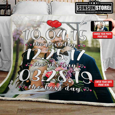"Personalized Blanket: ""The first day,  The yes day, The best day"" with your date & photo - Perfect gift for your partner"