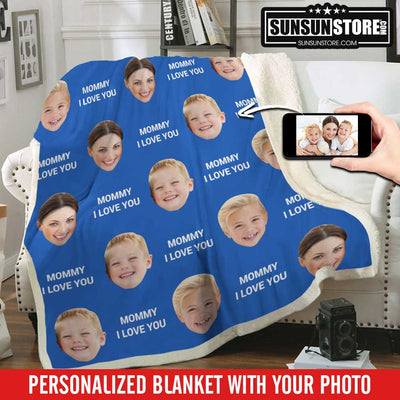"Personalized Blanket: ""Mommy I Love You"" with Your Photo"