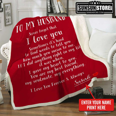Personalized Blanket To My Husband with Wife Name - Perfect gift for Husband